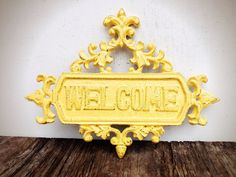 BOLD golden squash yellow large floral ornate welcome sign // vintage inspired spring garden decor // feminine shabby cottage chic