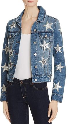 Star Patch Denim Jacket - All About Denim Jacket Patches, Patched Jeans, Denim Shirt, Embellished Jeans, Blue Jean Jacket, Denim Outfit, Jackets Online, Jackets For Women, Clothes