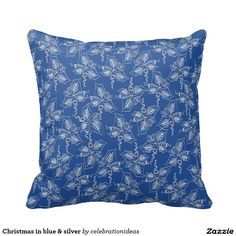 #christmas #xmas #elegant #modern #blue #silver #poinsettia #pillow #homedecor #livingroom in lots of different products & designs. Check more at www.zazzle.com/celebrationideas