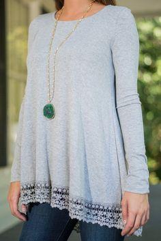 Grey Asymmetric Jersey Top With Crochet Lace Hem - US$15.95 -YOINS