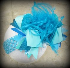 AQUA Blue Turquoise Over the Top Ostrich by MyBellaBellaBowtique, $16.95