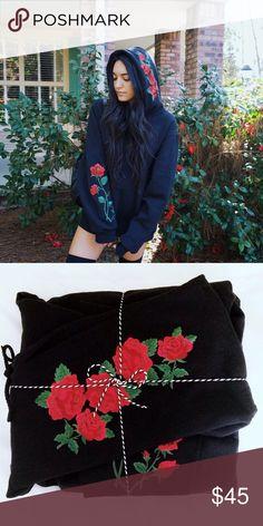 "Rose Hoodie -Rose embroidered fleece hoodie  -Fits oversized   -Length 28""  -LF inspired ( never worn ) ( handmade ) LF Tops Sweatshirts & Hoodies"