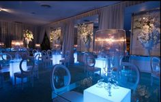 Green glass tabletops and white acrylic columns...Find out more about this Luxe Event Rentals event in the June edition of Grace Ormonde Wedding Style.