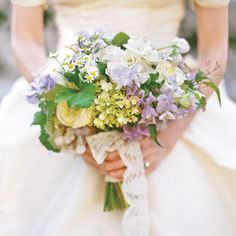 Bright Bouquets for Every Type of Bride | Martha Stewart Weddings - Sweet Pea, Rose, Hydrangea, and Chamomile