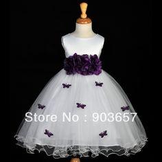vestido de niña morado primaveral Blanco morado ciruela mariposas desfile…