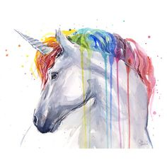 Unicorn Rainbow Watercolor Art Print, Magical Animals, Horse, Colorful... ❤ liked on Polyvore featuring home, home decor, wall art, unicorn painting, colorful watercolor paintings, colorful horse paintings, animal wall art and watercolour painting