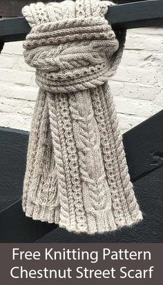 Free Knitting Pattern for Chestnut Street Cabled Scarf - knitting is so easy . Free Knitting Pattern for Chestnut Street Cabled Scarf – knitting is as easy as 3 Knitting Knitting Stitches, Knitting Patterns Free, Knit Patterns, Free Knitting, Knitting Charts, Knitting Scarves, Sock Knitting, Knitting Machine, Vintage Knitting