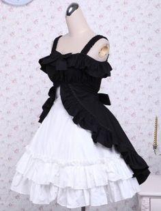 Ocrun Black And White Cotton Classic Lolita Dress On Line, ocrun.com