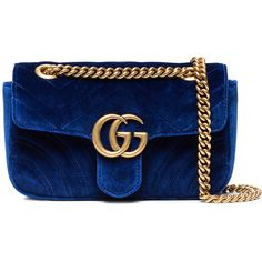 Gucci Mini GG Marmont Velvet Shoulder Bag ($1,490) ❤ liked on Polyvore featuring bags, handbags, shoulder bags, blue, gucci handbags, blue shoulder handbags, gucci shoulder bag, gucci purse and shoulder bag purse