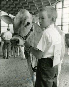 Boy showing a cow at the 1969 North Carolina State Fair ^cs