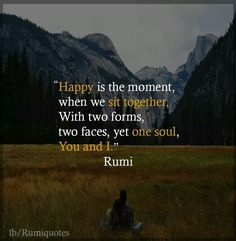 Happy is the moment, when we sit together, with two forms, two faces, yet one soul, You and I.  Rumi