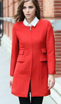 Slim-fit round neck long-sleeved zipper coat in red. very contemporary cut and clean lines. Get a free scarf and 50% off jewelry in Christmas Offer.