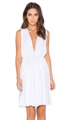 Bobi Modal Jersey Plunge Neck Dress en Blanco | REVOLVE