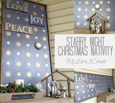 DIY Starry Night Christmas Nativity Scene using Royal Design Studio stencils via mylove2create