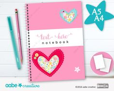 Personalised Notebook (Crafty Hearts), handmade stationery - lots of designs to choose by aabecreative on Etsy