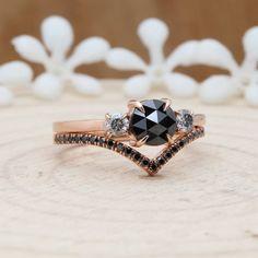 Natural Black Rose Cut Round Diamond 14K Rose Gold Set Ring | Etsy Black Diamond Wedding Rings, Diamond Promise Rings, Round Diamond Ring, Gold Engagement Rings, Black Tourmaline Ring, Gold Set, Natural, Dream Wedding, Future