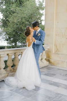 Bride and groom first dance in front of Corfu palace whine Old World micro wedding in Corfu Island Corfu Wedding, Greece Wedding, Corfu Island, Island Weddings, First Dance, Greek Islands, Old World, Hair Makeup