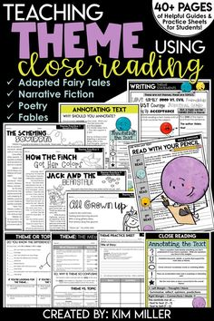 Finding the theme just got easier!  Help your students easily identify the theme of a literary text by using close reading strategies. This resource comes with a variety of close reading anchor charts, annotating guides, reference cards, reference charts, bookmarks, graphic organizers, interactive notebook templates, practice stories, and so much more! Includes characterization, summary, main idea, topic, and theme. RL.4.2, RL.5.2, RL.6.2, RL.4.3, RL.4.1