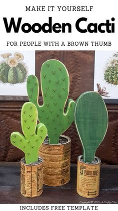 How to make your own wooden cacti. Perfect home decor for anyone who struggles to keep plants alive or if you want to add a little greenery to your space. #BrownThumb t#tincanrepurpose #tincanrecycle #WoodenCacti #DIYTutorial #ACraftyMix