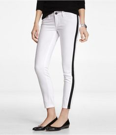 Express Womens Stella Tuxedo Stripe Ankle Jean Legging True White, 2