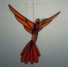 3D Stained Glass Humming Bird –  ORANGE  – Hand-made
