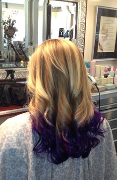 Beautiful deep purple on layered blond hair.  Washes out in about 3 weeks but turns into a pretty light lavender.