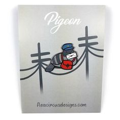 Pigeon Post / Carrier Pigeon Hard Enamel Pin by fleacircusdesigns on Etsy