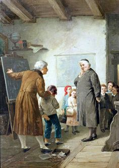 Francesco Bergamini, Caught in the Act.   The teacher in black holds a cane behind his back, and the child seems to be anticipating its use.