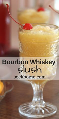 Bourbon Whiskey Slush sockbox10.com A great make in advance party drink. Easy!!!