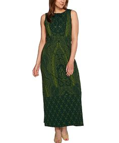 Love this Isaac Mizrahi Live! Dark Green Paisley Keyhole Maxi Dress - Plus Too by Isaac Mizrahi Live! on #zulily! #zulilyfinds