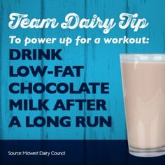 Here's a Team Dairy Tip: drink low-fat chocolate milk for healthy, natural energy after a long run!