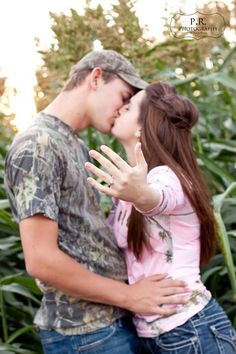 Engagement photography, maybe put my hand on his neck instead of out. Camo Engagement Pictures, Camo Engagement Rings, Country Engagement, Engagement Couple, Wedding Pictures, Wedding Engagement, Engagement Ideas, Camouflage Wedding, Camo Wedding
