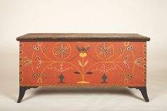 """CHEST/ Artist unidentified,1815-1825, paint on tulip poplar and white pine, brass, and iron, 25 x 50 1/2 x 21 1/4"""", Barbara L. Gordon Collection. Photo courtesy the Barbara L. Gordon Collection"""
