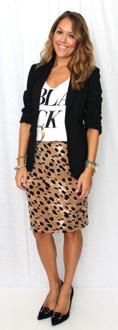 animal print skirt, fun tee and blazer. J's Everyday Fashion: Today's Everyday Fashion: Rocker Chic