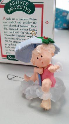 December Showers - vintage 1987 Hallmark keepsake ornament, Donna Lee, angel…
