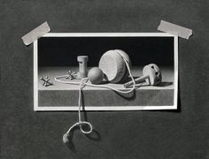 "Illusion: I have always enjoyed trompe l'oeil, and artist J.D. Hillberry has dedicated a full section of drawings to this illusion technique. He says: ""This entire image is drawn including the background, tape, and string."" [1] 1."