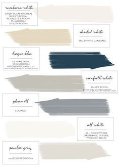 Farrow & Ball Paint Colours in My Home – Just A Little Build - Modern Farrow Ball, Farrow And Ball Paint, Farrow And Ball Bedroom, All White Farrow And Ball, Kitchen Colour Schemes, House Color Schemes, House Colors, Colour Combinations Interior, Interior Colors