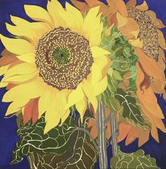 Here you will find a selection of Helen Lucas' sunflowers paintings. The beautiful yellows and golds of Helen Lucas' sunflowers are unmistakable, making these paintings one of her most famous and sought after pieces. Vincent Van Gogh, Sunflower Art, Sunflower Paintings, Sunflower Wallpaper, Garden Painting, Collaborative Art, Indian Summer, Art Themes, Outdoor Art