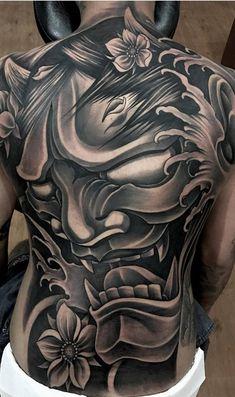 Tattoo Sleeve Designs Art Tatoo New Ideas Oni Tattoo, Hannya Maske Tattoo, Demons Tattoo, Tattoo Henna, Feather Tattoos, Back Piece Tattoo Men, Back Tattoos For Guys, Pieces Tattoo, Full Back Tattoos