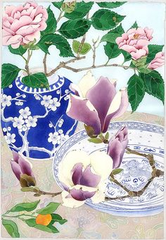 winter magnolias - watercolour and pencil on paper by Gabby Malpas