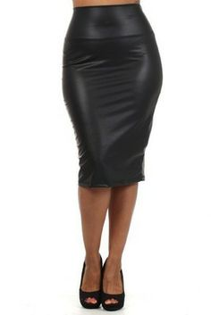 Lusty Faux-Leather Midi Plus Size Pencil Skirt. Man I want to kiss ...