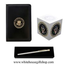 """Executive Desk Set Includes The White House Memo Pocket Jotter, 4"""" x 3"""", 5 Seal Full Color Post Notes Desk Cube, USA Made Silver Chrome, Hand-Etched, Seal in Dome, Elegant - President of the United States Roller Ball Pen. Enter Promo Code """"PIN"""" for 10% off your entire order!"""