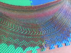 Lizzie Bennet shawl made with some EFA yarn that had about a hundred breaks in it.  Spliced and carried on.