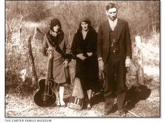 Maybelle, Sara, and A.P. Carter appear ready for a performance in this photo taken in Poor Valley, Virginia, in 1929.