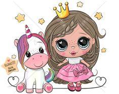 Free Vector Images, Vector Free, Princess Cartoon, Cute Unicorn, Typography Prints, Nursery Prints, Cute Cartoon, Digital Illustration, Fairy Tales