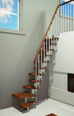 Modern Slim Stairs For Small Spaces In 3d Rendering Photo Ideas