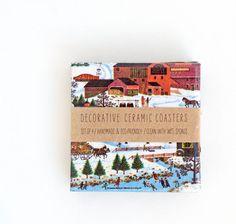 Christmas Ceramic Art Coasters Nostalgic Winter set by mayagencic, $25.00