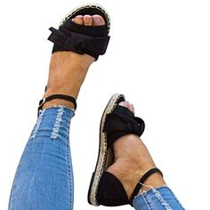 XMWEALTHY Women's Cute Bow Espadrilles Sandals Shoes Lightweight Open Toe Ankle Buckle Strappy Flat Sandals >>> You can find out more details at the link of the image. (This is an affiliate link) Flat Shoes Outfit, Sandals Outfit, Bow Shoes, Dress Shoes, Tie Up Flats, Strappy Flats, Flat Sandals, Open Toe Espadrilles, Espadrille Sandals