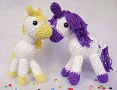 Amigurumi Crochet Pony. Yellow and White Cotton yarn. Ideal for a new baby, christening or baby shower gift! Available from ETSY. Hand made with love by Kinderkraft!