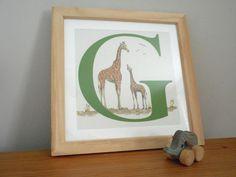 G for Giraffe  Nursery Alphabet Art Unframed by huxleyjonesdesigns